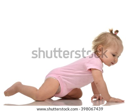 Infant child baby girl toddler crawling happy looking straight isolated on a white background - stock photo