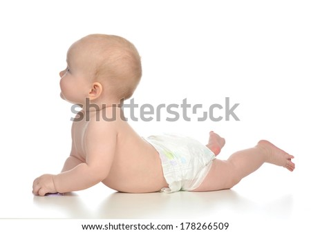 Infant child baby girl toddler lying in diaper on a white background