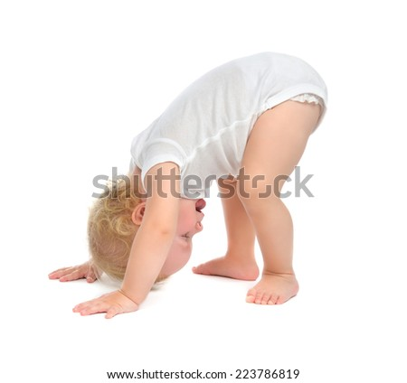 Infant child baby toddler happy smiling with hand and trying to tumble isolated on a white background - stock photo