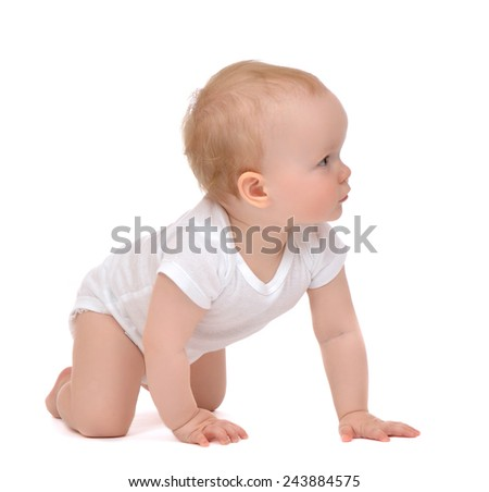 Infant child baby toddler kid sitting crawling isolated on a white background
