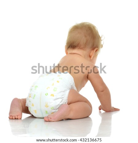 Infant child baby toddler sitting and looking from the back backwards isolated on white background - stock photo