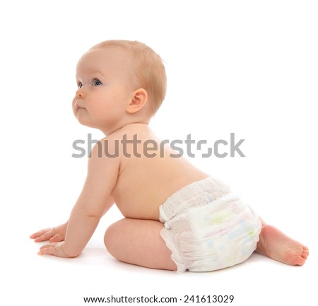 Infant child baby toddler sitting crawling backwards happy smiling on a white background - stock photo