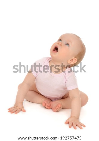 Infant child baby toddler sitting looking up and yelling isolated on a white background - stock photo