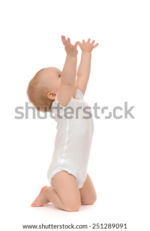 Infant child baby toddler sitting raise hands up isolated on a white background - stock photo
