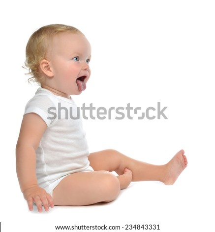 Infant child baby toddler sitting yelling showing open mouth tongue isolated on a white background - stock photo