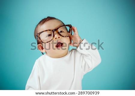 Infant child crawl - stock photo