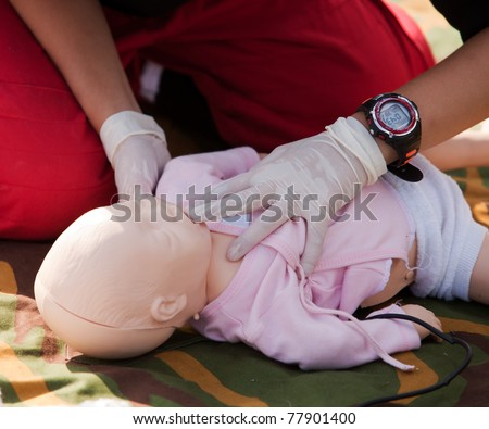 Infant dummy first aid - stock photo