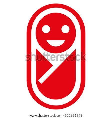 Infant glyph icon. Style is flat symbol, red color, rounded angles, white background.