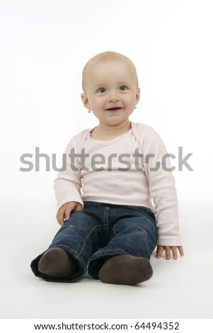 Infant sit, on white background.