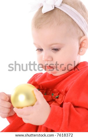 infant with an ornament - stock photo