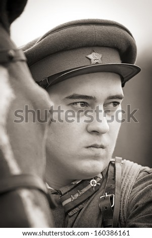 Infantry sergeant wearing soviet form of 1937 year and a horse