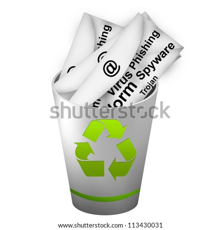 Infected Email In Green And Silver Metallic Recycle Bin For Computer Security Concept Isolated on White Background - stock photo