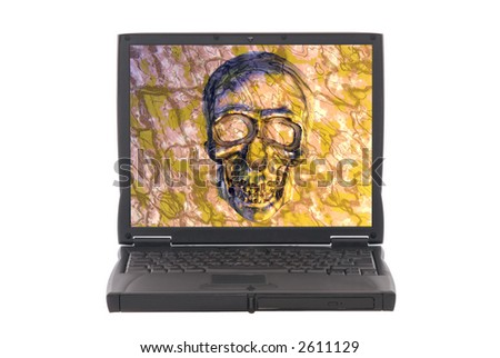 Infected laptop with virus, skull on screen. Safety, security, internet concept. - stock photo