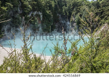 Inferno Crater Lake at Waimangu Volcanic Valley on the Northern Island of New Zealand - stock photo