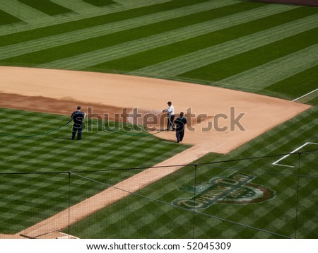 infield and first base line, professional baseball park, - stock photo