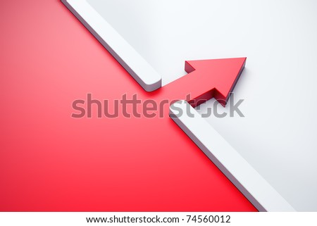 infiltration of a red arrow outside, 3d render - stock photo