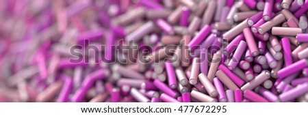 Infinite alkaline batteries on a plane, original 3d rendering