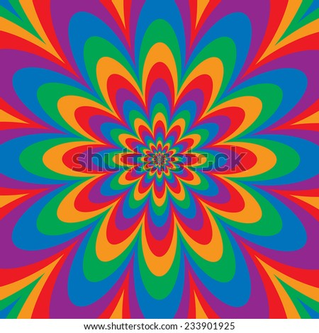 Infinite Flower op art design in primary and secondary colors. - stock photo
