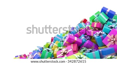 Infinite gift boxes, original 3d illustration - stock photo