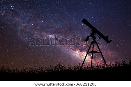 Infinite space background with silhouette of telescope. This image elements furnished by NASA. - stock photo