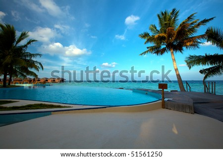 Infinity Pool in the Maldives! - stock photo