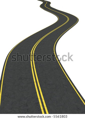 Infinity road - isolated on white - stock photo