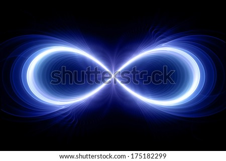Infinity sign, computer generated fractal background - stock photo