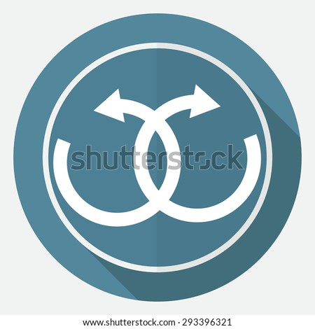 infinity sign on white circle with a long shadow - stock photo