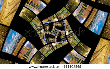 Infinity spiral from autumn photos. Travel and seasons concept - stock photo