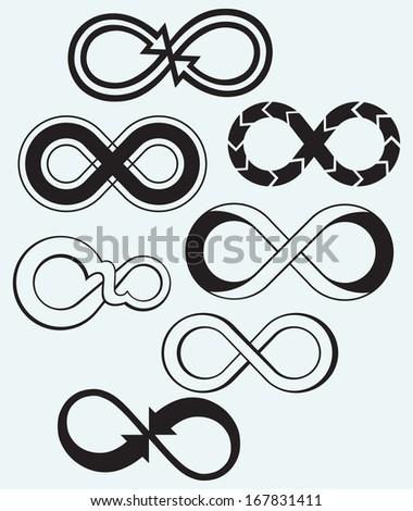 Infinity symbol isolated on blue background. Raster version - stock photo
