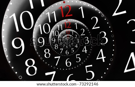 Infinity time on black background. With red colored 12 hours. Digital generated - stock photo