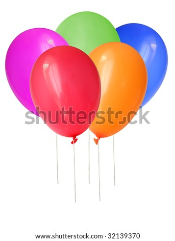 Inflatable balloons, photo on the white background
