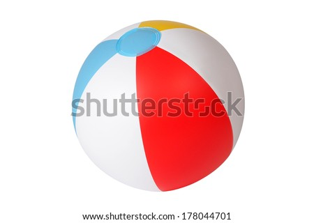 Inflatable beach ball isolated on white background - stock photo