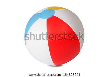 Inflatable beach ball isolated on white background