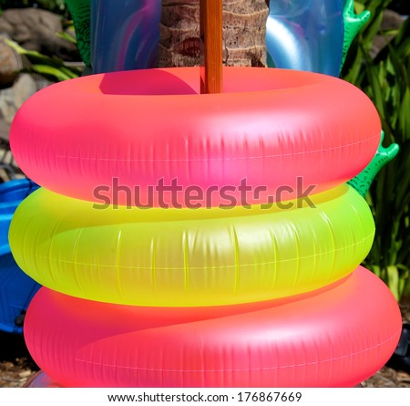 Inflatable life rings for the pool - stock photo