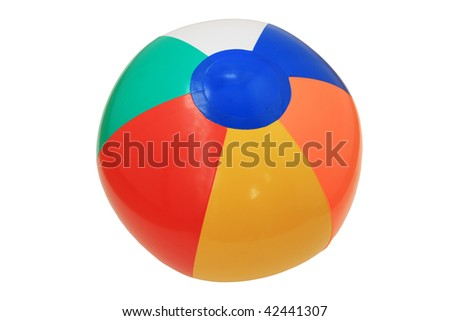 inflatable plastic childs beach ball isolated on white