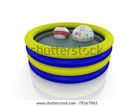 inflatable pool and ballons - stock photo