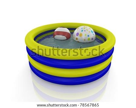 inflatable pool and ballons - stock photo