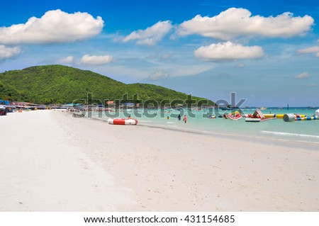 Inflatable slide sea activity and White sandy beach at Koh Lan, Pattaya Thailand  - stock photo