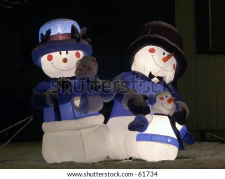 Inflatable Snow People - stock photo