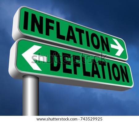 inflation deflation bank crisis or financial and economic recession or stock market crash or rise sign 3D, illustration