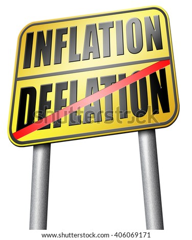 inflation deflation bank crisis or financial and economic recession or stock market rise sign