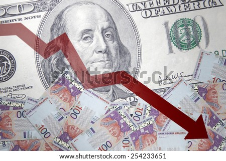 Inflation Malaysian Ringgit against the backdrop of the US dollar - stock photo