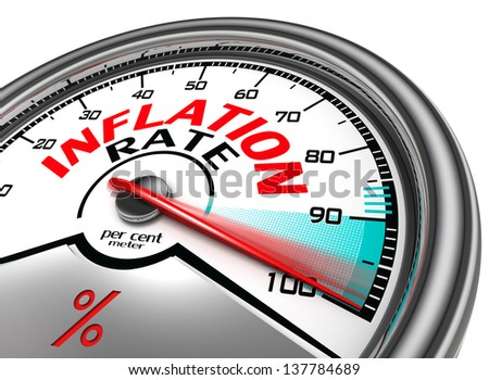 inflation rate conceptual meter indicate hundred per cent, isolated on white background - stock photo