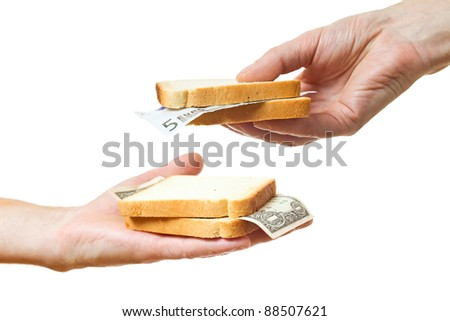 Inflation. That you can place in a sandwich - your money.White background. - stock photo