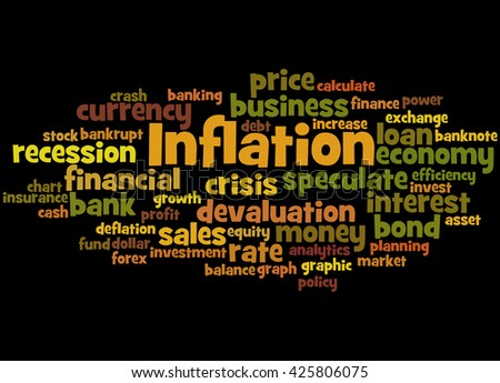 Inflation, word cloud concept on black background.    - stock photo
