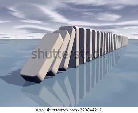 influence abstract concept with falling dominoes - stock photo