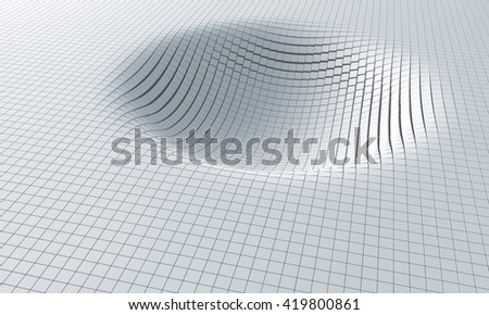 Influence of gravity. Distorted space. 3D image - stock photo