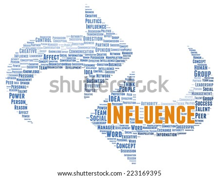 Influence word cloud shape concept