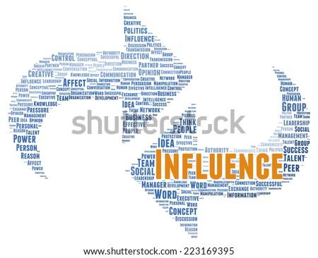 Influence word cloud shape concept - stock photo